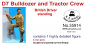LZ35914 British D7 tractor +bulldozer driver standing