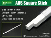 PPA6028 ABS Square Stick - Size: 5mm x 5mm x 2pcs