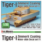 DD35004 WWII Tiger-1 Mid/Late Zimmerit Decal set #1 (1/35 Academy,Tamiya)