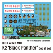 DD35010 ROK MBT K2 Black Panther decal set for Academy kit