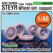 DW48004 WW2 German STyre Type 1500A Sagged Wheel set (for Tamiya 1/48)